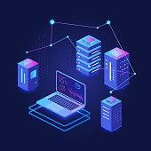 Big data processing dark isometric vector illustration. Digital information distribution. Computer system networking. Hosting and server. Virtual platform. Database cartoon conceptual design element