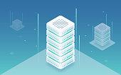 Big data processing, web hosting, server rack, data storage, computing and processing information concept. Server room isometric vector. Online computing technology. Hosting server isometric vector.