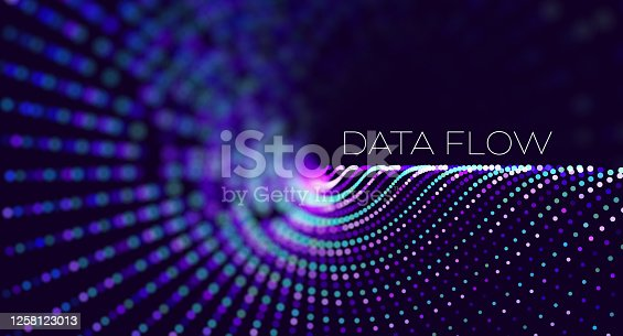 istock Big data. Security technology digital wave background concept. Bigdata abstract vector background. Binary code structure. Wave flow. Data radar stream. 1258123013