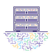 Flat line vector icon illustration of big data server with abstract background.
