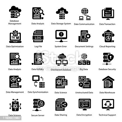 Big data solid icons set is here for your design project. Editable vectors are worthy and easy for you. Hold it now for your easy.