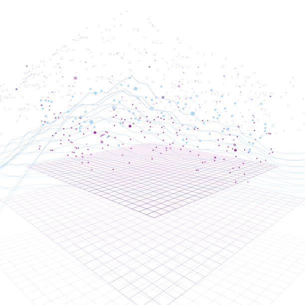 大きなデータ ストリーム未来デジタル サイバー面上インフォ グラフィック。量子計算、暗号、トレンディな技術インフォ グラフィック。3 d bigdata の可視化。抽象的なビジュアル データ ベクトルのデザイン。 - 科学研究点のイラスト素材/クリップアート素材/マンガ素材/アイコン素材