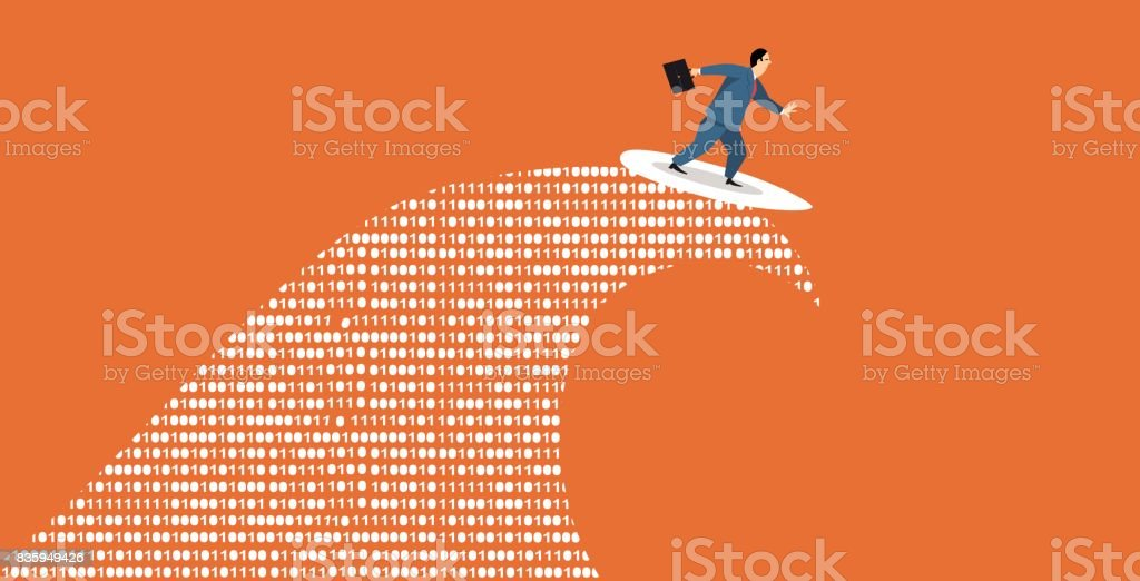 Big data surfer vector art illustration