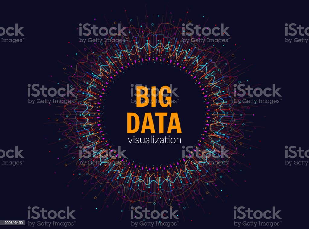 Big data visualization. Abstract background with dots array and lines. Vector infographic design. EPS 10. vector art illustration