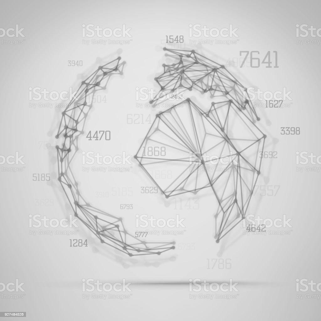 Big Data Visualization Abstract Earth Globe Stock Vector Art & More ...