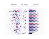 Big data visualization. Abstract geometric background with letter code and hexagons. Technology communication concept.