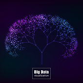 Big data visualization. glowing tree. vector illustration