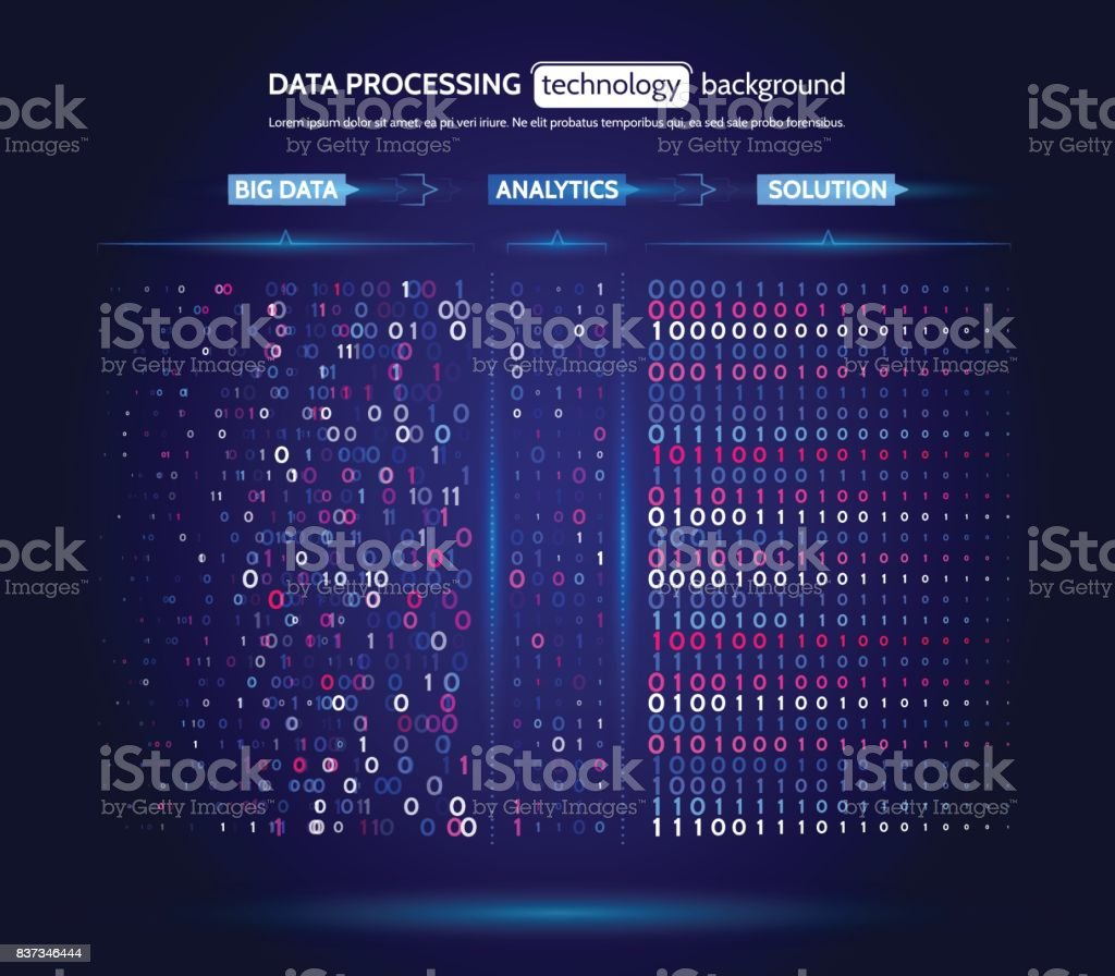 Big Data Visualization Information Analytics Concept Abstract Stream  Information Filtering Machine Algorithms Sorting Binary Code Stock  Illustration -