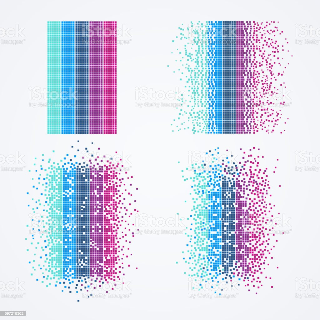 Big data visualization. Technology computer algorithm in form of geometric particles.