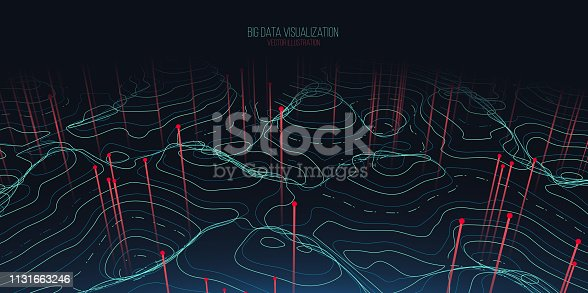 istock Big data visualization. Trendy infographic background. Data analysis presentation. 1131663246