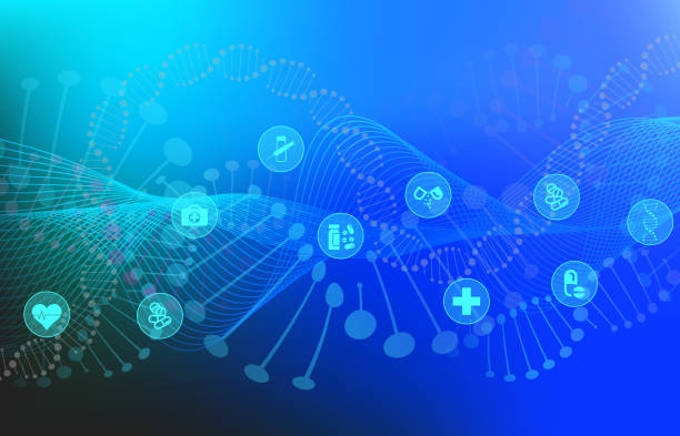 Big Data Visualization with DNA Helix and Medical Icons Big Data Visualization with DNA helix, DNA bonds, Medical Icons, Genomic Elements, DNA Strand for Concept DNA Background with Line Waves genomics stock illustrations