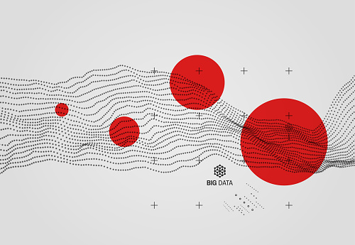 Big data. Wavy background with motion effect. 3d technology style. Vector illustration. clipart