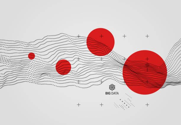 ilustrações, clipart, desenhos animados e ícones de grande volume de dados. fundo ondulado com efeito de movimento. estilo de tecnologia 3d. ilustração em vetor. - escorrer