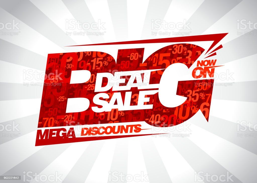 Big deal sale now on, mega discounts poster vector art illustration