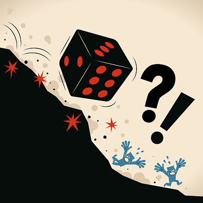 Big Dice falling off a cliff, people are screaming and escaping. Risk prevention and risk management is important. Fear of uncertainty or fear of risk
