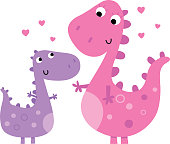 Cartoon illustration of two cute dinosaurs. Contains clipping mask on eyes.