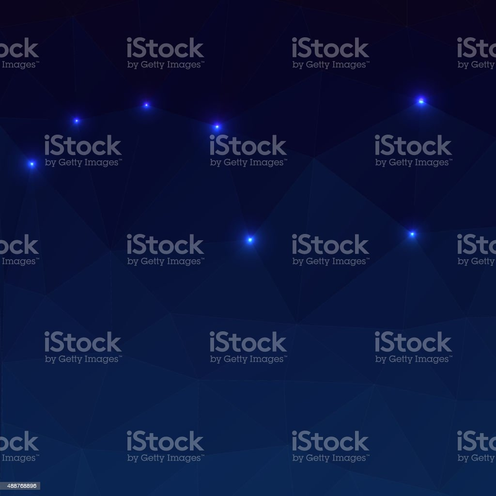 Big Dipper on a dark blue background in the polygonal vector art illustration