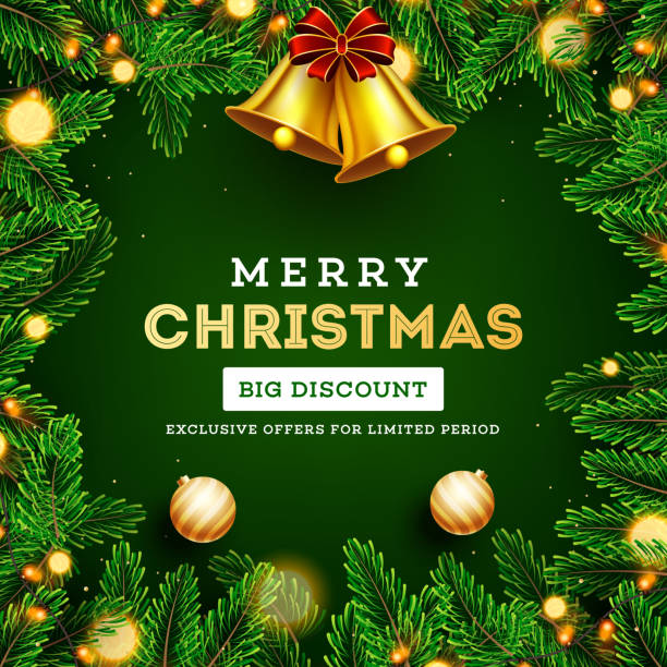 Big discount offer for Merry Christmas Sale poster or template design with golden jingle bell, pine leaves, baubles and lighting garlands decorated on green background. vector art illustration