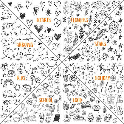 Big doodle set with hand drawn hearts, flowers and floral elements, stars and comets, holiday birthday party, sweet food, school and study, funny kids and creative arrows.