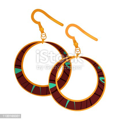 Big drop earrings. Ring shaped pendant, gold, bijouterie. Jewelry concept. Vector illustration can be used for topics like gem store, style, accessory, fashion