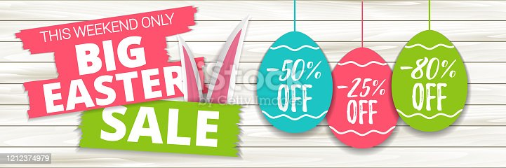 Big Easter sale offer, banner template. Colored Easter egg price sticker with lettering, isolated on wooden background. Easter paper eggs sale tag. Shop market web banner or poster design. Vector EPS