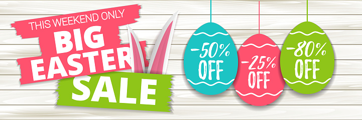 Big Easter sale offer, banner template. Colored easter egg price sticker and rabbit ear, isolated on wooden background. Easter paper eggs sale tag. Shop market poster design. Vector illustration. EPS