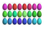 Big Easter set with color eggs isolated on white background. Design for card, postcard, wallpaper, posters. Vector stock illustration. 3d collection.