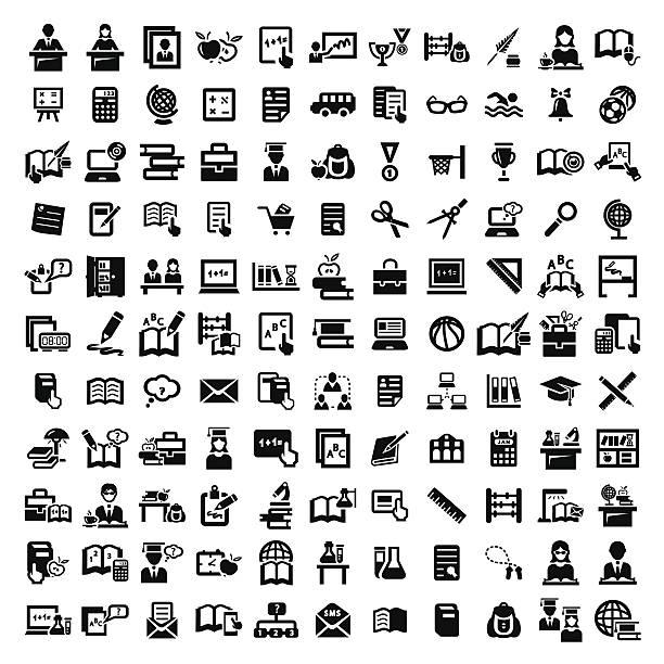 ビッグ教育のアイコンセットベクトル - 学校の文房具点のイラスト素材/クリップアート素材/マンガ素材/アイコン素材