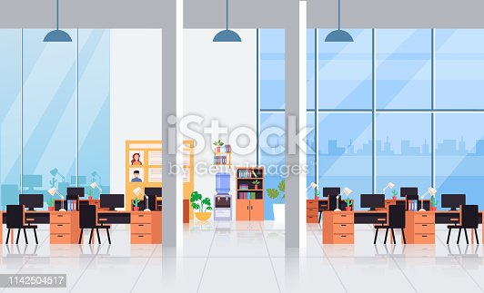 Big empty office interior workplace workspace concept. Vector flat cartoon graphic design