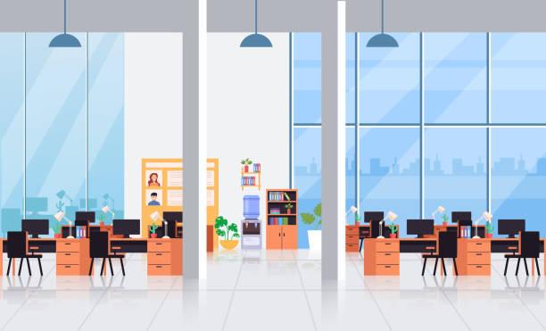 Großes leeres, leeres Bürointerie-Wohnraumkonzept. Vector flacher Cartoon-Grafikdesign-Illustration – Vektorgrafik