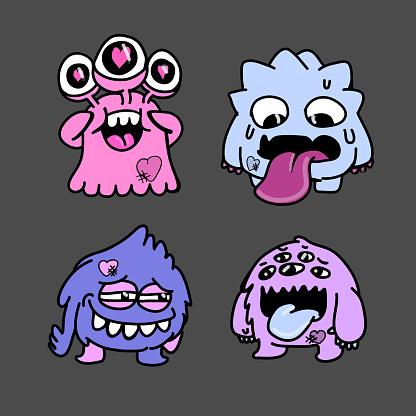 Big Eyed Monsters. Cute cartoon Monsters. Set of cartoon monsters: goblin or troll, cyclops, ghost, monsters and aliens.