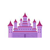 Big fairy tale castle with high towers and conical roofs. Pink medieval fortress. Flat vector for children book