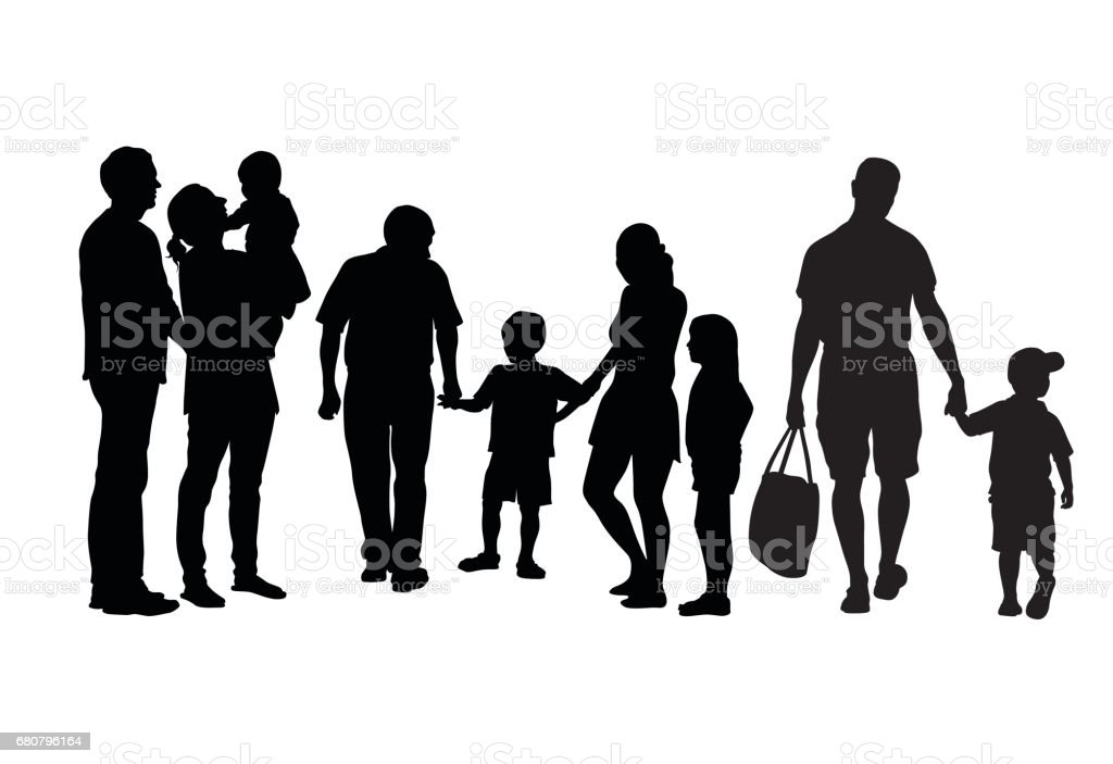 Big Families vector art illustration