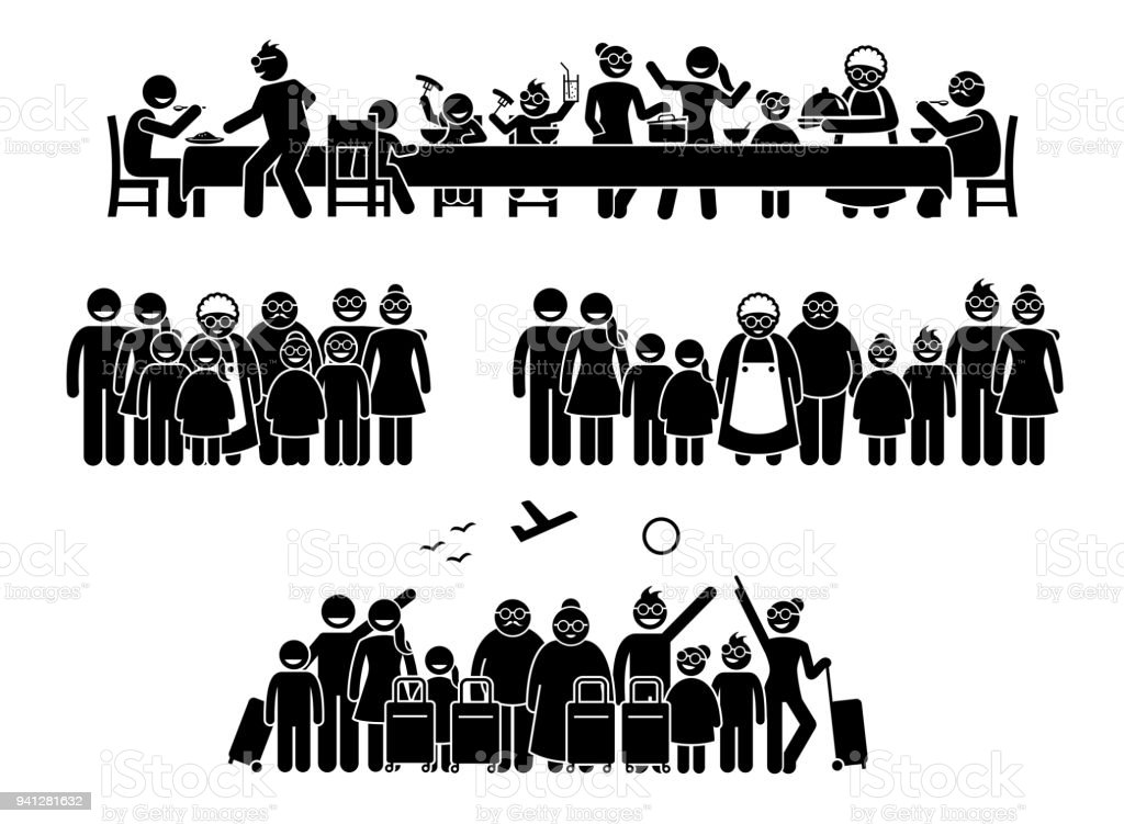 Big family and relatives reunion, gathering and activities. vector art illustration