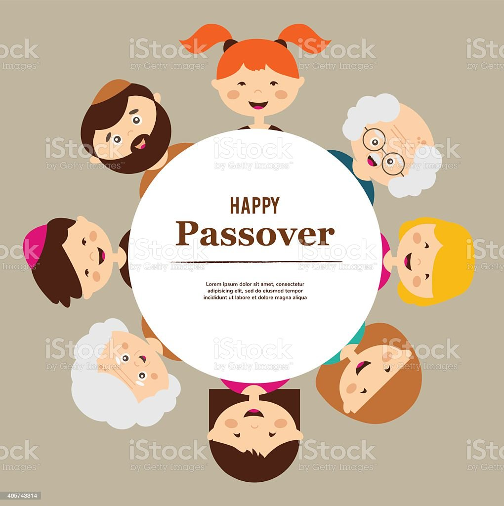 big family around passover plate. happy holiday. vector art illustration
