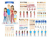 Big family character set for the animation with various views, hairstyle, emotion, pose and gesture. Mother, father and children. Isolated vector illustration in cartoon style
