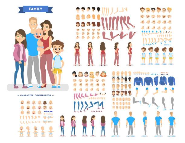 zestaw postaci dużej rodziny do animacji - grupa przedmiotów stock illustrations