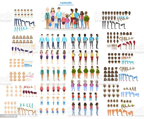 Big family character set for the animation with various views pose vector id1149523186?b=1&k=6&m=1149523186&s=612x612&h=hsqkhuoilebrvcw1bftd9cpose5ezmhvuks98q7lsxc=