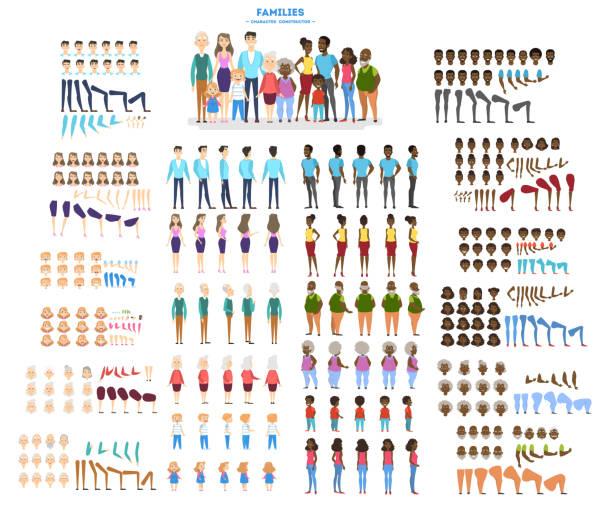 zestaw postaci dużej rodziny do animacji z różnymi widokami, fryzurą, emocjami, pozą i gestem. afrykańska matka, ojciec i dzieci. izolowana ilustracja wektorowa w stylu kreskówki - grupa przedmiotów stock illustrations