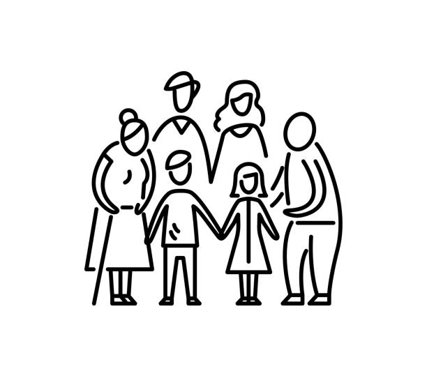 Big family children parents and grandparents Relationship mother father kids grandfather and grandmother vector art illustration