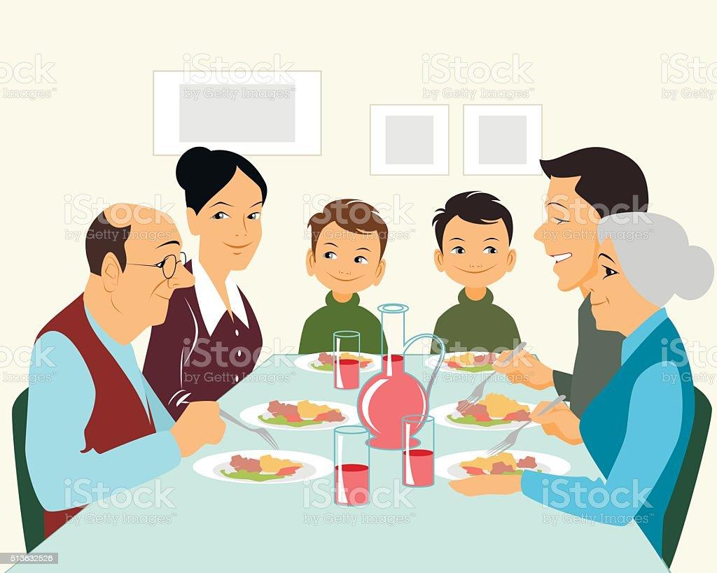Große Familie essen – Vektorgrafik