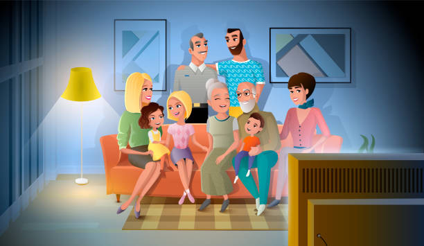 Big Family Evening Meeting at Home Vector Concept Three Generations of Big Family Talking and Spending Time Together while Sitting on Coach in Living Room. Large Happy Family Gathered Together at Home in Evening Cartoon Vector. Family Values Concept family watching tv stock illustrations
