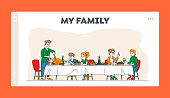 Big Family Feast Landing Page Template. Thanksgiving Celebration Dinner at Table with Food. Happy People Eating Turkey Meal and Talking, Cheerful Characters Festive Lunch. Linear Vector Illustration