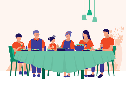 Big Family Having Dinner Together At Home. Family Relationships Concept. Vector Flat Cartoon Illustration.