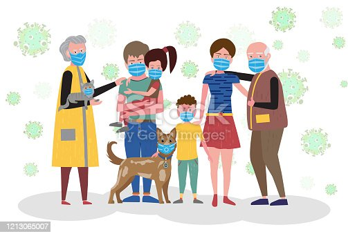 istock Big family in medical protective masks. Mother and father, daughter and son, grandfather and grandmother and their dog. Vector illustration. 1213065007