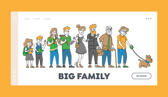 Big Family Landing Page Template. Children, Parents, Grandparents Stand in Row. School Kids, Teenagers, Adult and Senior