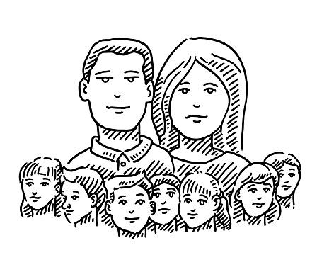 Big Family Many Kids Drawing