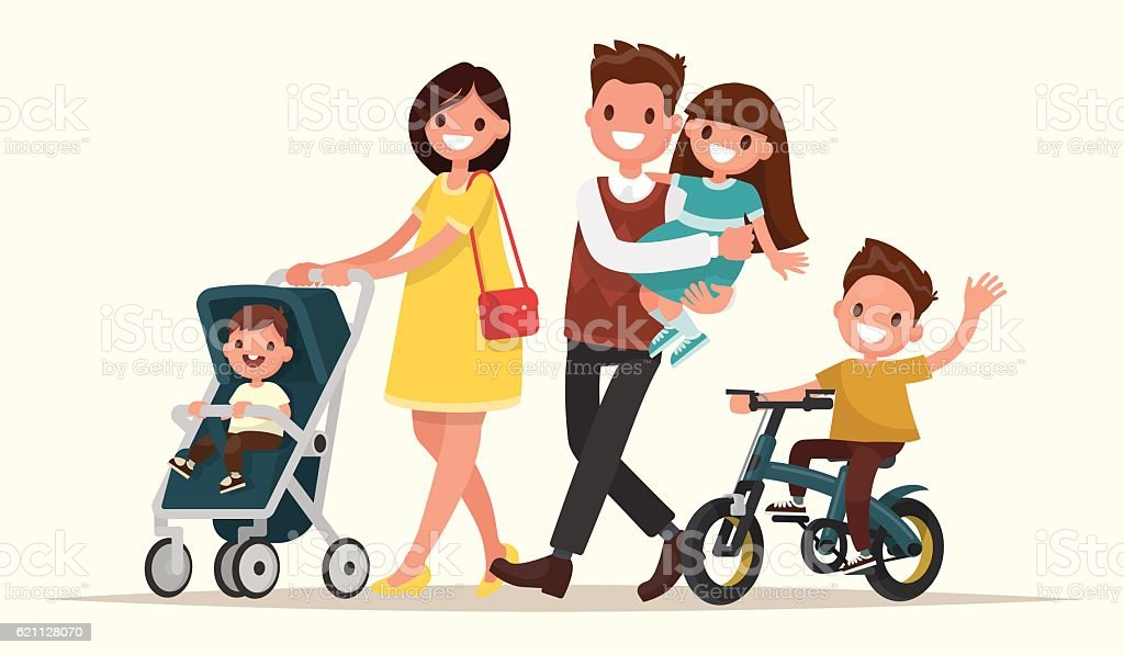 Big family on the walk. Mother with baby vector art illustration