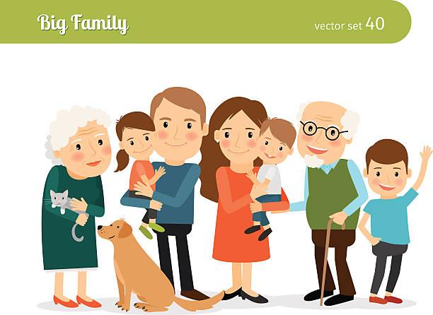 ilustraciones, imágenes clip art, dibujos animados e iconos de stock de big retrato de familia - nieto