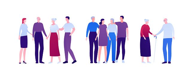 Big family relationship and support concept. Vector flat person illustration. Group of men and women embrace and holding hand. Adult and senior people. Design element for banner, infographic, web.